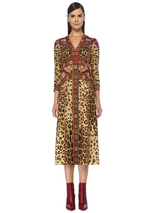 V Yaka Leopar Desenli Midi İpek Elbise