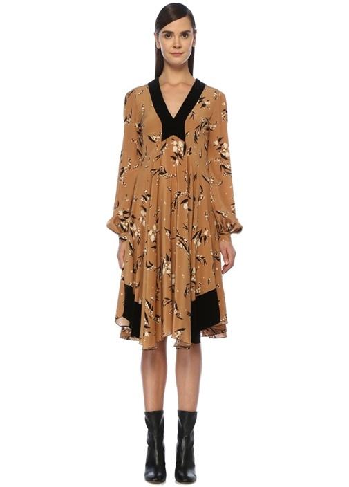 Bej Siyah V Yaka Çiçekli Midi İpek Elbise