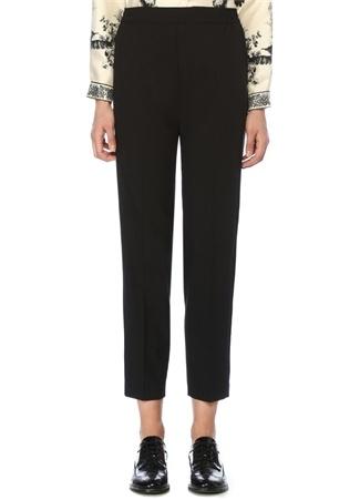 Siyah Beli Lastikli Boru Paça Yün Pantolon