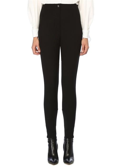 Siyah Yüksek Bel Bağcık Detaylı Streç Pantolon