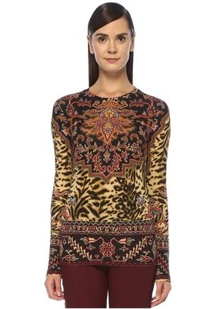 Etro Kadın Siyah Etnik Desenli Uzun Kollu T-shirt Bej 42 IT female