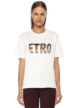 Etro Kadın Beyaz Bisiklet Yaka Logo Baskılı T-shirt 46 IT