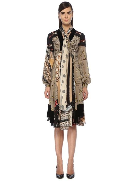 V Yaka Çiçekli Fular Detaylı Midi İpek Elbise