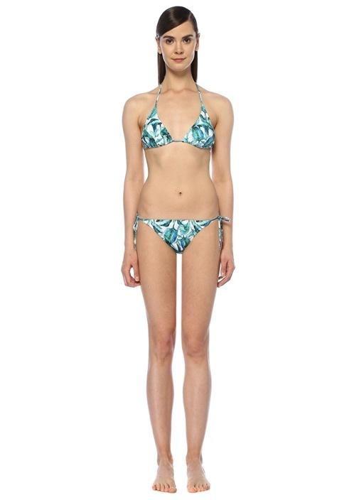 Maldives Beyaz Yeşil Üçgen Bikini Takımı