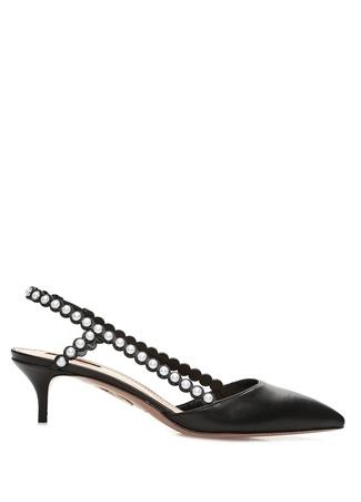 Aquazzura Kadın Siyah İnci Detaylı Deri Topuklu Sandalet 38.5 EU