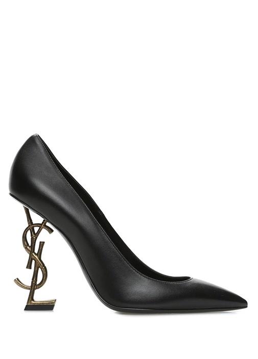 Opyum Siyah Logo Topuklu Deri Stiletto