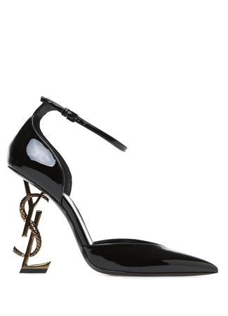 Opyum Siyah Topuk Detaylı Deri Stiletto