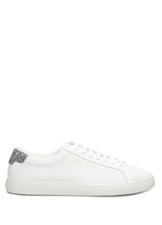 Saint Laurent Kadın Andy Beyaz Pul Detaylı Deri Sneaker 37.5 EU