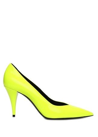 Saint Laurent Kadın Kiki Neon Sarı Deri Stiletto 36 EU