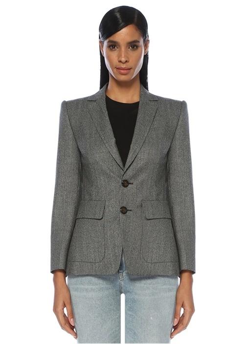 Gri Kazayağı Desenli Yün Blazer Ceket