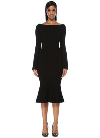 Kadın Siyah Etek Ucu Volanlı Çan Kol Midi Triko Elbise XS EU
