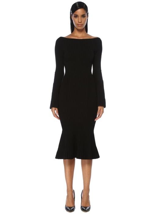 Siyah Etek Ucu Volanlı Çan Kol Midi Triko Elbise