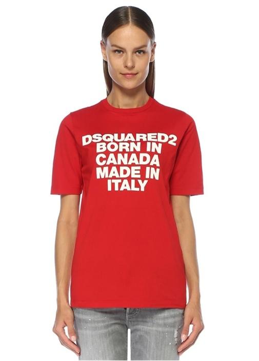 Kırmızı Beyaz Logo Baskılı T-shirt