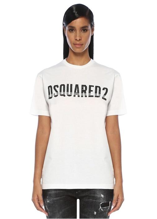 Beyaz İşlemeli Logolu T-shirt