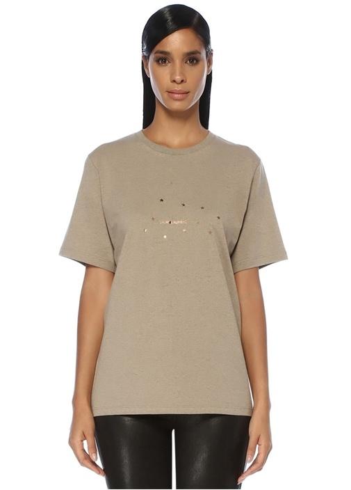 Bej Gold Yıldız Baskılı Logolu T-shirt