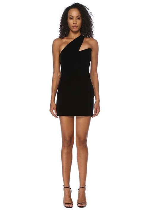 Siyah Asimetrik Kalp Yaka Mini Kadife Elbise