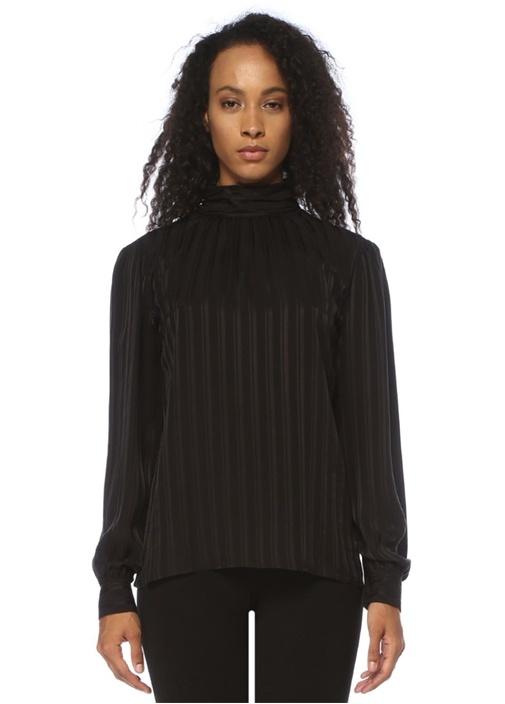 Siyah Yakası Bağcıklı Çizgili İpek Gömlek