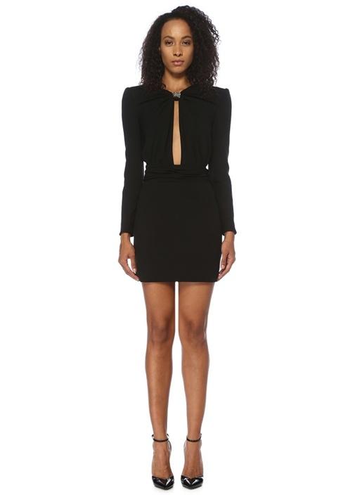 Siyah Zincir Fiyonk Detaylı Uzun Kol Mini Elbise