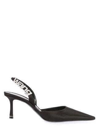 Grace Siyah Taşlı Bantlı Saten Topuklu Sandalet