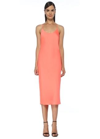 T by Alexander Wang Kadın Neon Pembe Sırtı Çapraz Askılı Midi Elbise XS EU