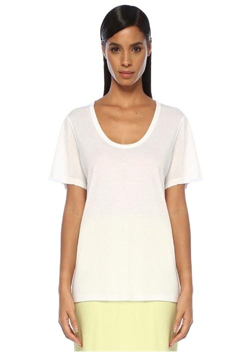 Beyaz U Yaka Basic T-shirt