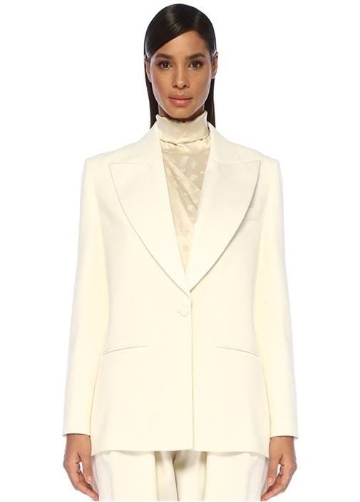 New Amsterdam Krem Tek Düğmeli Yün Blazer Ceket