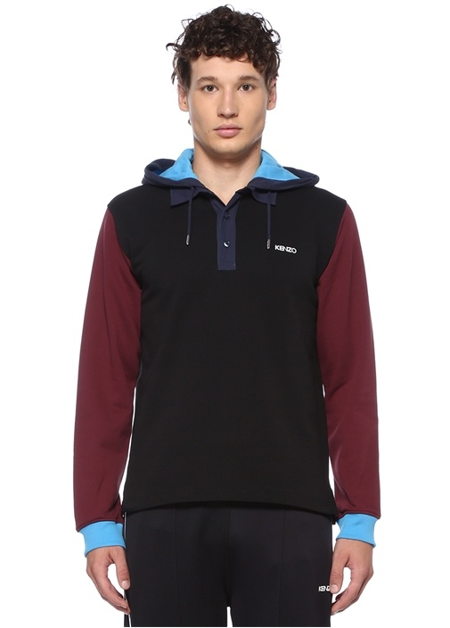 Colorblocked Kapüşonlu Logolu Sweatshirt