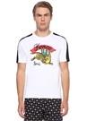 Beyaz Kontrast Şeritli Kaplan Baskılı T-shirt