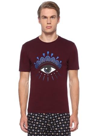 Bordo Göz Baskılı Logo Detaylı Basic T-shirt