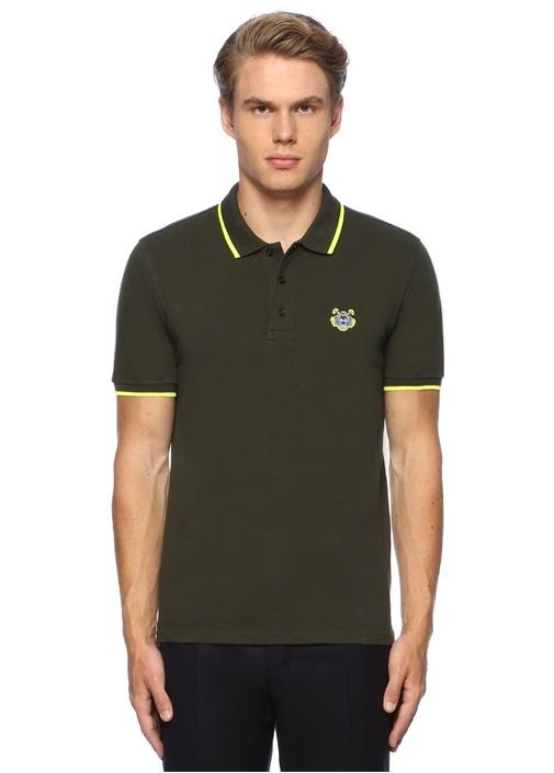 Haki Polo Yaka Kaplan Patchli T-shirt