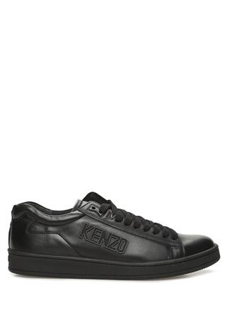 Tennix Siyah Kabartmalı Logolu Erkek Deri Sneaker