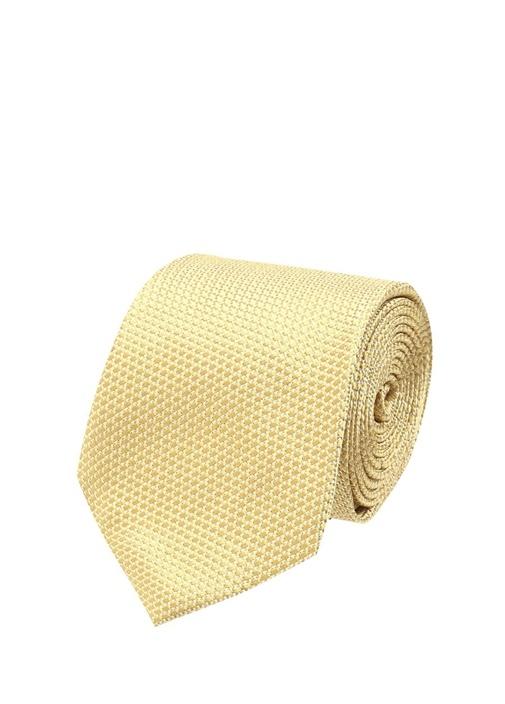 Sarı Dokulu İpek Kravat