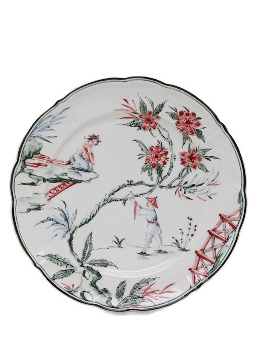 Chinoiseries Beyaz El Yapımı Dekoratif Tabak