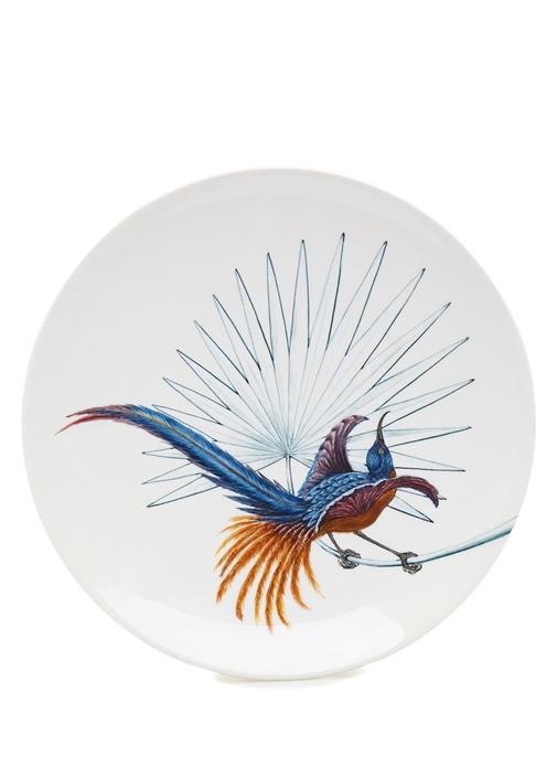 Birds Of Paradise Beyaz El Yapımı Dekoratif Tabak