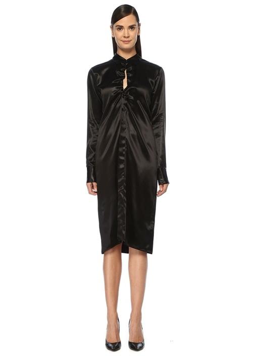 Siyah Büzgü Detaylı Midi Saten Gömlek Elbise