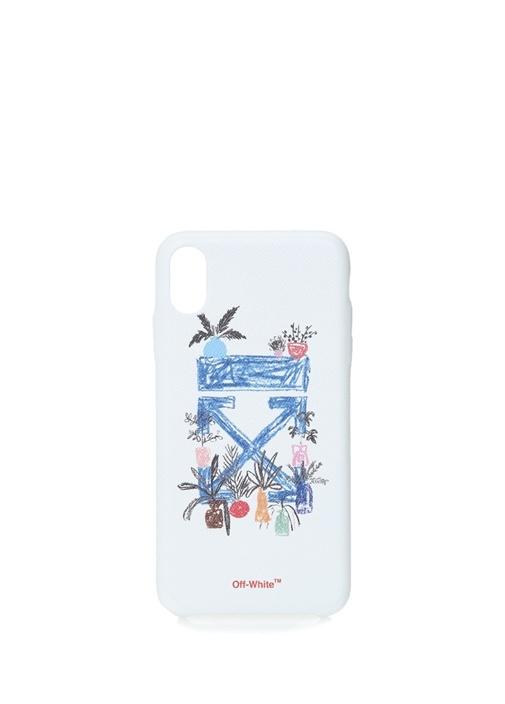 Beyaz Logo Baskılı iPhone XS Max Telefon Kılıfı