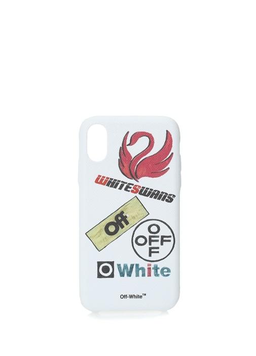 Beyaz Logo Baskılı iPhone XR Telefon Kılıfı