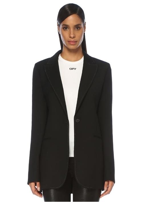Loose Fit Siyah Kontrast Dikişli Ceket