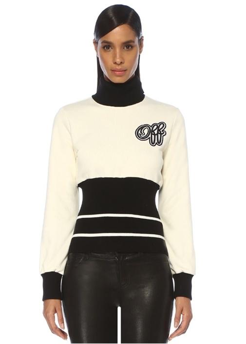 Siyah Beyaz Balıkçı Yaka Ribli Sweatshirt