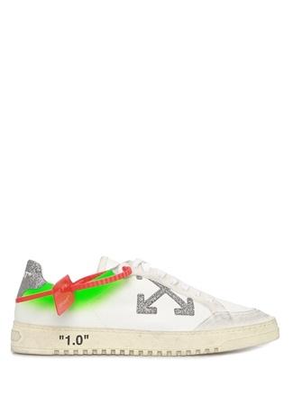 Off-White Kadın Beyaz Yeşil Simli Logolu Deri Sneaker 35 EU female