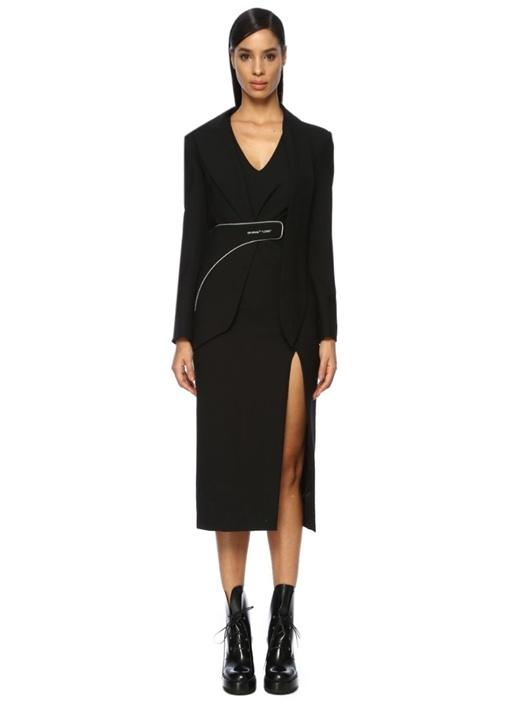 Siyah V Yaka Ceket Formlu Biyeli Midi Elbise