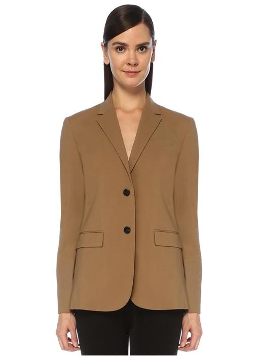 Kamel Kelebek Yaka Klasik Yün Blazer Ceket
