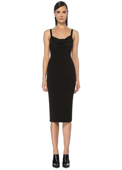 Siyah Yakası Drape Detaylı Midi Elbise
