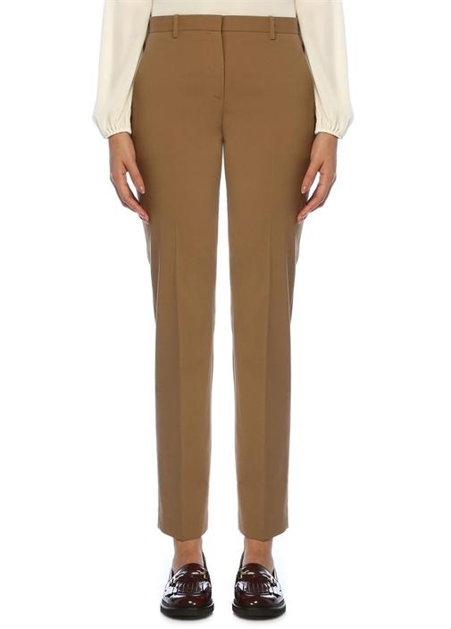 Tailored Fit Koyu Bej Dar Paça Pantolon