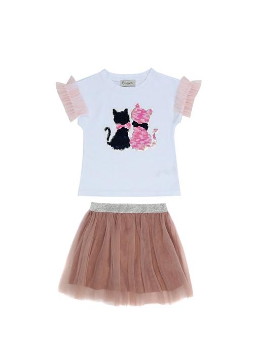 Best Friend Cats 2li Pembe Beyaz Kız Çocuk Set