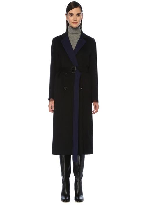 Gombe Mavi Siyah Kemerli Kruvaze Yün Palto
