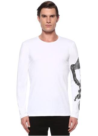 Loic Beyaz Taşlı Yılan İşlemeli Sweatshirt
