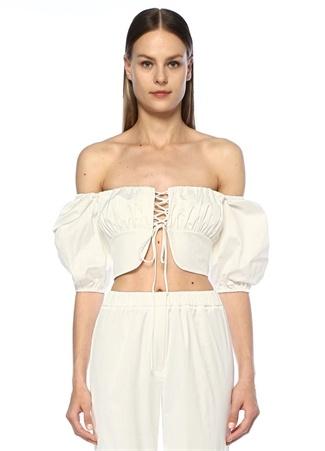 Nazlı Ceren Kadın Beyaz Kayık Yaka Büzgülü Bağcıklı Crop Bluz XS EU