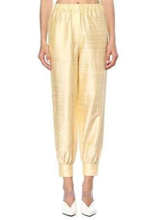 Sarı Beli Lastikli Paçası Düğmeli İpek Pantolon