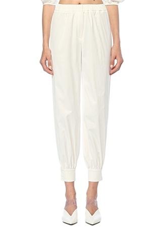 Beyaz Beli Lastikli Paçası Düğme Detaylı Pantolon